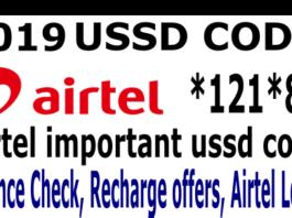 Airtel balance check, airtel offers, airtel ussd codes 2019