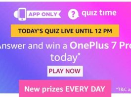 amazon quiz 18 august oneplus 7 pro