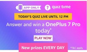 amazon quiz 18 august oneplus 7 pro