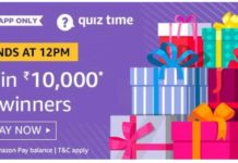 amazon quiz answer 19 august 10000
