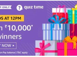 amazon quiz answer 19 august 10000