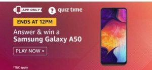 amazon quiz today 28 august win samsung galaxy a50