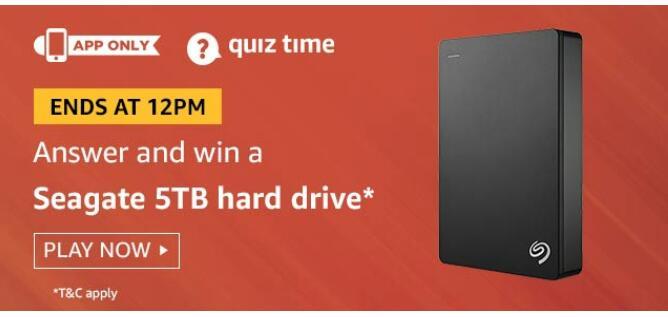 amazon quiz today Seagate 5TB Hard Drive
