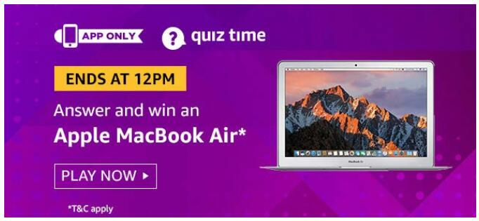 Amazon Today Quiz 30 August 2019 Answers » Correct Answer
