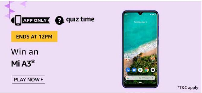 AMAZON TODAY QUIZ ANSWER MI A3 QUIZ