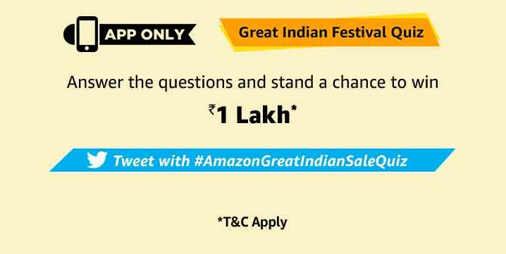Amazon Great Indian Festival Quiz Answer Win 1 Lakh