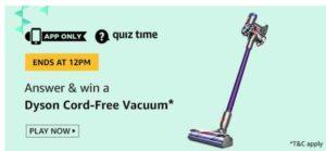 amazon today quiz answer free vacuum