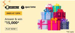 amazon today quiz answers 15000