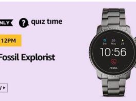 amazon today quiz answers Fossil Explorist Watch