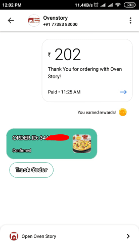 google pay oven pizza order