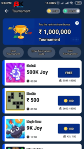 minijoy pro apk tournament